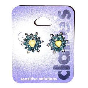 Snowflake heart earrings